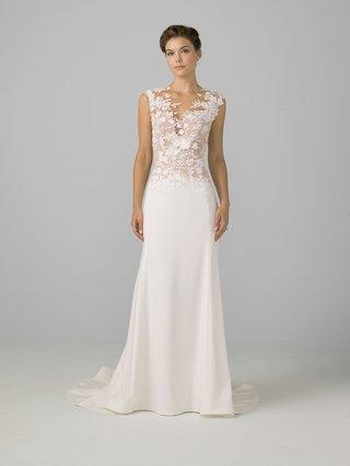 azul-by-liancarlo-2018-bridal-collection-wedding-dress-sheath-gown-illusion-neckline-3d-flowers