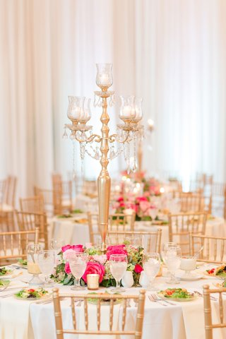 wedding-reception-round-white-table-gold-chairs-pink-flowers-greenery-gold-candelabra-salad-course