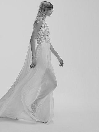 black-and-white-photo-of-elie-saab-bridal-spring-2017-sleeveless-dress-lace-bodice-silk-skirt