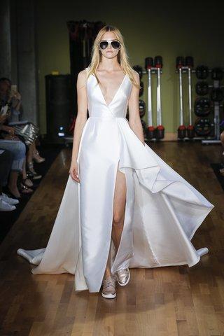 rivini-fall-2018-mikado-deep-v-sleeveless-slit-gown-with-waterfall-overlay