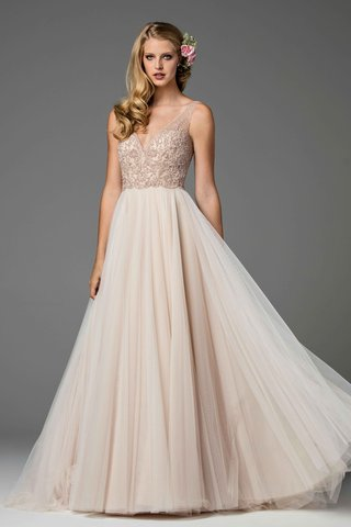 watters-2017-bridal-collection-rose-blush-wedding-dress-lace-bodice-v-neck-and-tulle-a-line-skirt
