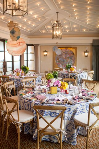 bridal-shower-at-montage-school-theme-with-planets-hanging-from-ceiling-eraser-pencil-ruler-details