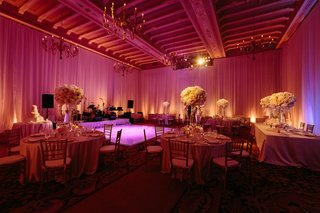 pink-lighting-vintage-spanish-chandeliers-tall-centerpieces