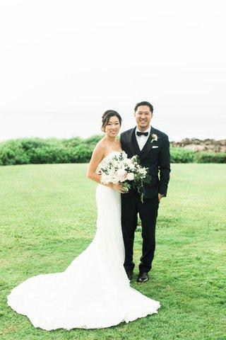 wedding-couple-portrait-montage-kapalua-bay-strapless-bridal-gown-flower-bouquet-groom-tux-bow-tie