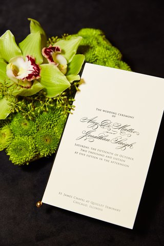 sophisticated-wedding-ceremony-program-formal-wedding-at-church-green-bouquet-orchid-mums