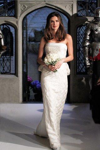 oleg-cassini-spring-2018-wedding-dress-cuff-gown-silk-charmeuse-pattern-bow-bustle-in-back-sheath