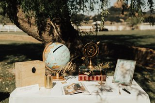 guestbook-and-gift-table-at-outdoor-wedding-card-box-made-from-globe