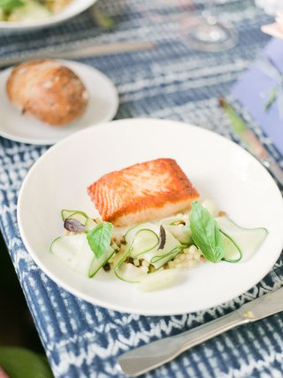 bridal-shower-menu-salmon-seared-with-cucumber-coconut-and-fregola-with-bread-plate-salad-on-side