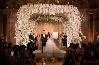 jewish-wedding-ceremony-mirror-aisle-flower-petal-confetti-toss-orchid-chuppah