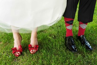 bride-in-red-patent-leather-valentino-heels-and-groom-in-black-salvatore-ferragamo-dress-shoes