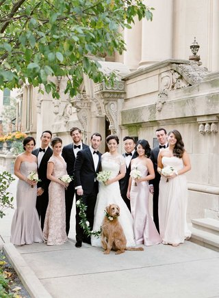 chicago-wedding-party-bride-and-groom-with-dog-and-mismatched-bridesmaids-and-tuxedo-clad-groomsmen