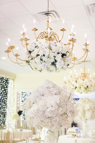 gold-chandelier-with-white-blooms-over-tables-with-buffet-selections-orchids-and-hydrangeas-gold