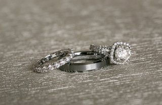 diamond-encrusted-bridal-band-engagement-ring-three-jewelry-pieces-classic-wedding-mens-womens