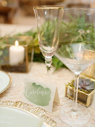 wedding-reception-place-card-at-reception-table-tent-card-green-watercolor-design-calligraphy-white