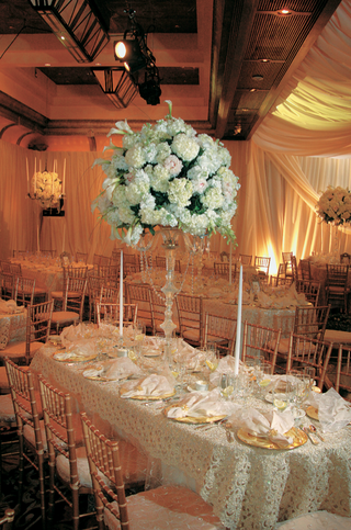 long-oval-table-with-beaded-fabric-and-tall-hydrangea-centerpiece