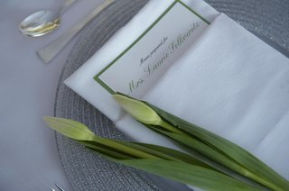 two-closed-tulip-flowers-on-top-of-green-menu-card