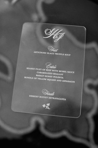 black-and-white-photo-of-etched-lucite-menu