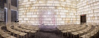 modern-ceremony-space-suspended-blooms-arch-wedding-indoors-metallics-park-hyatt-new-york