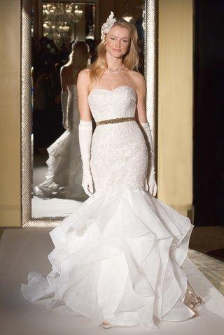 oleg-cassini-davids-bridal-wedding-dress-strapless-lace-mermaid-gown-organza-ruffle-skirt-beads