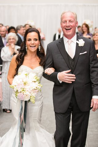 the-bride-groom-smile-walking-up-aisle-trumpet-wedding-gown-sweetheart-neck-charcoal-tuxedo-pink-tie