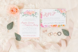 wedding-invitation-and-rsvp-card-flower-motif-pink-and-peach-blooms-pink-envelope-wedding-rings