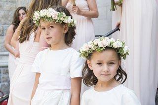 white-short-sleeve-flower-girl-dresses-with-pink-flower-crown