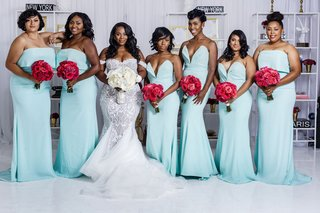 bride-in-mermaid-wedding-dress-white-bouquet-with-bridesmaids-mismatched-mint-blue-green-dresses