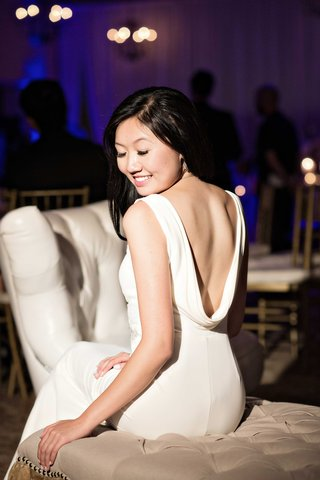 low-back-ivory-reception-gown-slinky-sexy-second-dress-southern-california-wedding-bel-air-bay-club