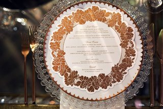 wedding-reception-clear-charger-plate-with-gold-copper-rose-menu-design-circle-motif-flatware