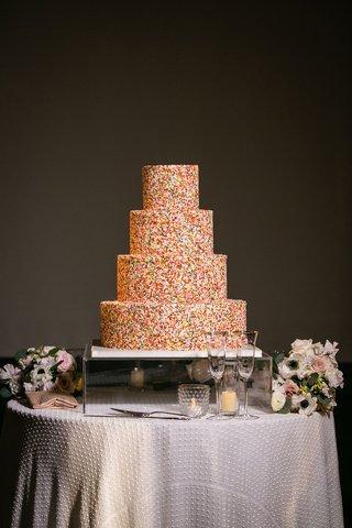 wedding-cake-rainbow-sprinkles-four-layer-round-tier-modern-cake-on-mirror-stand