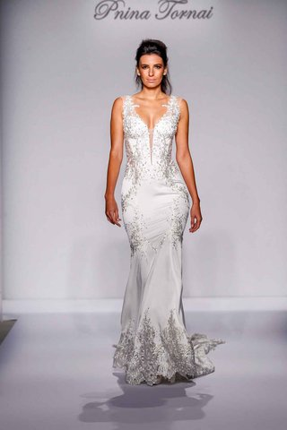 pnina-tornai-for-kleinfeld-2016-fit-and-flare-wedding-dress-with-silver-embroidery