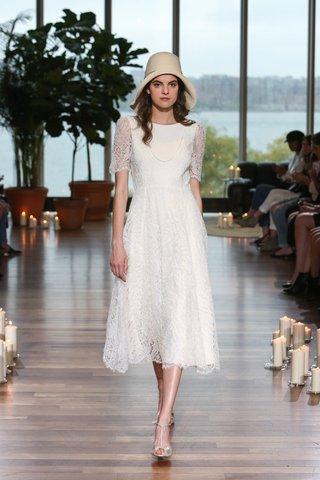 laure-de-sagazan-fall-2018-tea-length-lace-dress-with-half-sleeves