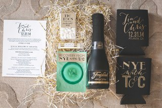 new-years-eve-wedding-gift-box-favor-with-friexenet-cucumber-pad-koozies-tic-tacs-lip-balm