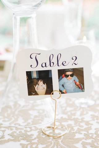 table-number-old-photos-couple-age-2-two-south-carolina-wedding-cute-personal-detail-calligraphy