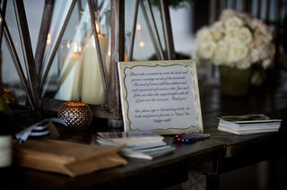 wedding-reception-table-with-instructions-to-write-a-message-for-the-bride-groom-on-postcards