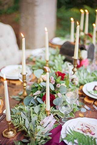 rustic-tablescape-foliage-table-runner-candles-gold-green-red-pink-purple-celtic-wedding-wood