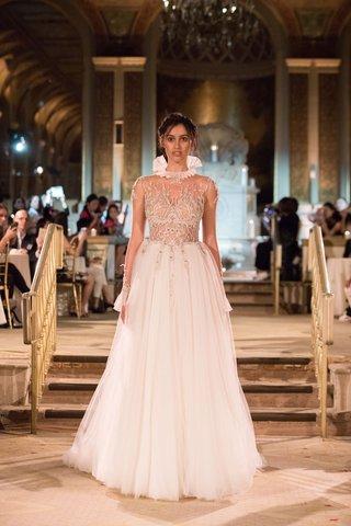 idan-cohen-fall-winter-2018-empire-of-love-wedding-dress-sheer-long-sleeves-high-neck-ruffle-flowing