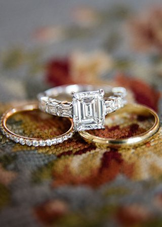 gold-diamond-pave-wedding-band-and-emerald-cut-wedding-ring