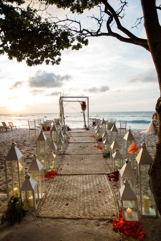 beach-ceremony-mat-aisle-white-decor-colorful-flowers-ocean-punta-mita-mexico-destination-wedding