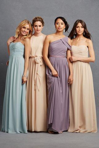 donna-morgan-nyc-blue-purple-nude-bridesmaid-dresses