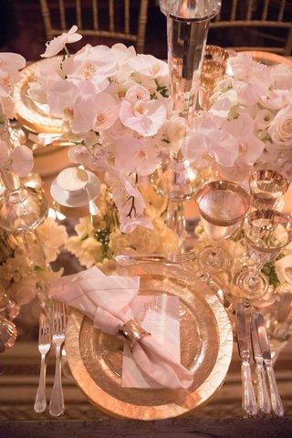wedding-reception-place-setting-monogram-menu-charger-metallic-napkin-ring-mirror-top-orchid-rose