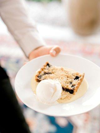 bridal-shower-menu-dessert-idea-blueberry-crumble-tart-with-creme-fraiche-and-ricotta-ice-cream