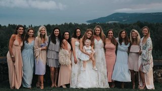 bride-with-two-bridesmaids-baby-and-honorary-bridesmaids-light-blue-pink-dresses
