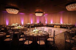 fairmont-miramar-hotel-bungalows-wedding-reception-pink-purple-lighting-uplighting-chandeliers