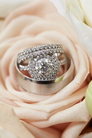 wedding-ring-engagement-ring-round-diamond-double-halo-setting-eternity-band-and-mens-band