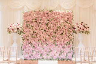 wedding-ceremony-decor-white-drapery-curtains-white-vase-pink-flowers-pink-green-flower-wall-altar