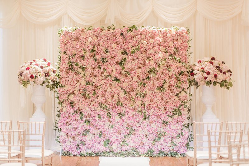 Pink Flower Wall at Ceremony