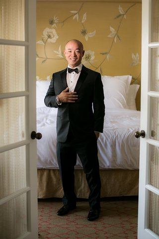 groom-in-giorgio-armani-tuxedo-and-rolex-watch-asian-american-groom-bald-groom