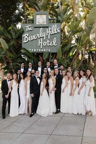 wedding-party-bridesmaids-in-white-bridesmaid-dresses-groomsmen-in-tuxedos-bow-ties-beverly-hills