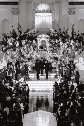 same-sex-wedding-inspiration-black-and-white-photo-of-gay-wedding-at-vibiana-in-los-angeles